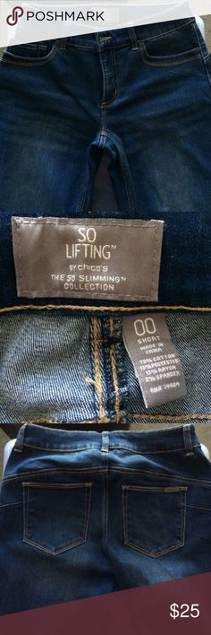 Chico's So Lifting medium blue short jeans 00 Jean style is to look worn but there is little wear. Worn a few times. Inseam is about 29. Size is about equal to size 6. Chico's Jeans Straight Leg
