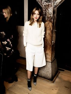 Pernille of Look de Pernille masters a menswear remix in our Cable Crew Sweater and Edu Culotte
