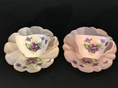Set of 2 tea cups and saucer Leneige Very Soft Turquoise ,Delicate Hand Painted,
