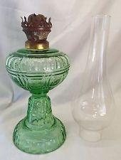 Old Antique FLUTE & BLOCK Pattern GREEN Glass OIL LAMP w/ Chimney