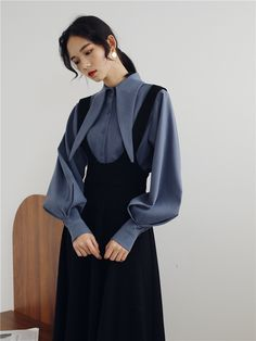 Big Discount Womens Two Piece Sets 2019 Spring Summer Long Shirt Sailor Collar Puff Sleeve Blouse+ Overalls Dress Women's Sets Clothing Modest Fashion, Hijab Fashion, Korean Fashion, Fashion Dresses, Look Fashion, Girl Fashion, Fashion Design, Mode Ootd, Hijab Stile