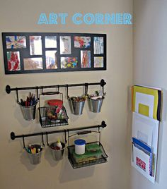 It says art corner. But I would set up something similar like this for the parent communication area. I would post pictures of the kids and their families here and do a bulletin of events and sign sheets for any parent volunteering.
