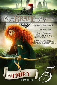 Disney Brave Merida Princess - 1 Custom Birthday Party Invitation Photo Printable. $13.99, via Etsy.