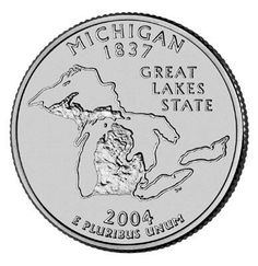 """Michigan is one of the few states which can be recognized from space. The state's unique outline takes center stage in the Michigan State Quarter. """"Great Lakes State"""" is the theme of the design, which features a detailed relief of the state. State Of Michigan, Detroit Michigan, Marquette Michigan, Northern Michigan, United States Mint, 50 States, The Mitten State, State Quarters, Coin Shop"""