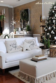 """These pillow covers are made from a 100% cotton fabric in the color """"natural linen"""". One cover has the phrase """"Silent Night""""..."""