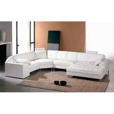 Monaco White Leather Sectional Sofa #2236