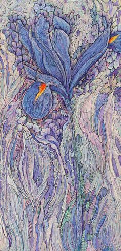 """#ooakdiaries One of A Kind Show Preview A Song About Iris 1 :copyright: Col Mitchell 24"""" x 12"""" x 1.5"""" Italian crepe paper, acrylic, inks Sold   by Col.Mitchell.art"""