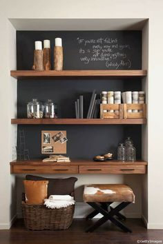 52 super Ideas home office nook in kitchen shelves Office Nook, Home Office Space, Home Office Design, Home Office Decor, House Design, Home Decor, Office Ideas, Home Living Room, Living Room Decor
