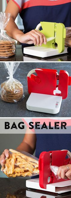 Slide to seal any bag in a single, simple motion. Twist the bag top and swipe to get a bakery-type seal. Sealabag will lock and contain any sized bag—from little baggies to heavier duty trash bags. Great for baked goods!