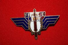 WW2 FREE FRENCH METAL FRANCE LIBRE ENAMEL BADGE INSIGNE WING BREVET