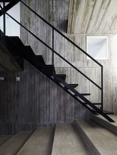 I'm liking the long tread of the lower concrete stairs -Takanawa House / Hiroyuki Ito + O. Metal Stairs, Concrete Stairs, Black Stairs, Stair Steps, Stair Railing, Railings, Glass Railing, Interior Stairs, Interior And Exterior