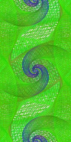 Green and blue repeating spiral fractal pattern