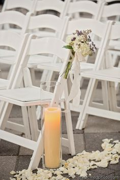 Aisle decor - simple and classic. Photo by @Megan Maxwell Baisden Meg Baisden Photography, Event Planning by @Christine Hargreaves Events , Flowers by @Kate Beesley Wedding and Event Designs, candles by @Lisa Phillips-Barton Fenasci LaFrance
