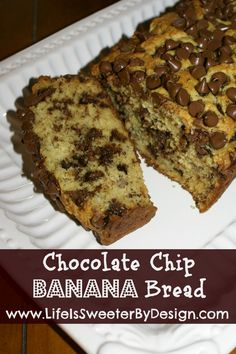 A quick and easy way to use up ripe bananas! This is a moist and delicious sweet Chocolate Chip Banana Bread!