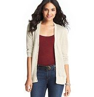 Sheer 3/4 Sleeve Cardigan - In an array of candy colored (and elegantly neutral) hues, this lightweight style adds sheer sweet to any look. Add a cami beneath for more coverage. V-neck. 3/4 sleeves. Button front. Ribbed neckline, cuffs and hem.