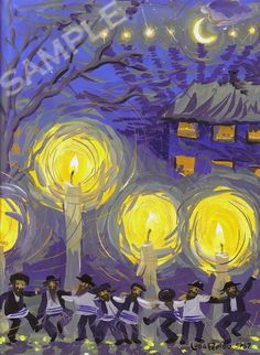 Chanukkah Dance Print Wall Art Decor Judaica Menorah by PearlBrush
