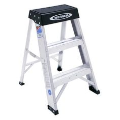 Werner 2-Step Aluminum Step Stool with 300 lb. Load Capacity