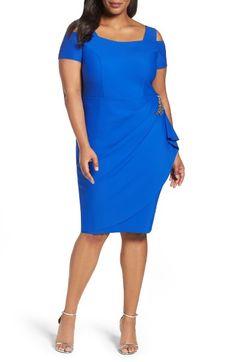 Main Image - Alex Evenings Embellished Cold Shoulder Sheath Dress (Plus Size)