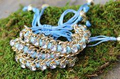 Baby Blue Rhinestone & Gold Chain Cord Bracelet $15.00
