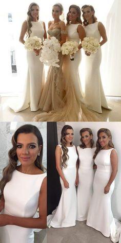 White Bridesmaid Dress,Simple Bridesmaid Dress,Mermaid Bridesmaid Dress,Sweep Train Bridesmaid Dress,Screw Bridesmaid Dress,Sleeveless Bridesmaid Dress,Sheath Bridesmaid Dress,Bridesmaid Dress,Bridesmaid Dresses,2017 Bridesmaid Dress,2017 Bridesmaid Dresses