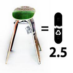 Every Deckstool skateboard stool saves 2.5 broken skateboards from the landfill.