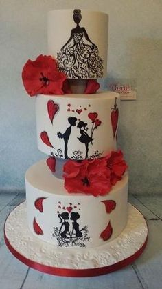 I love this hand painted three tier cake of a young couple's story, similar to my purple painted cake. This is finished with red sugar poppies … I changed it slightly and took out the top separator. Gorgeous Cakes, Pretty Cakes, Cute Cakes, Amazing Cakes, Fondant Cakes, Cupcake Cakes, Silhouette Cake, Hand Painted Cakes, Valentines Day Cakes