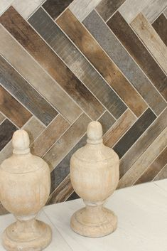 Tiles installed in a herringbone pattern is a stunning way to create interest in a space. To get this look, combine different colour wood-look tiles and place them in a herringbone pattern on the wall for a modern take on a traditional floor layout. This is most impactful when using long, slim tiles to really show off the pattern. It must be noted that an experienced tiler is needed to achieve this look. #herringbonepattern #featurewall #woodlook #tiles #homedecor #trendingdesign #homegoals Floor Layout, Feature Walls, Wood Look Tile, Tile Installation, Trendy Home, Herringbone Pattern, Design Trends, Different Colors, Floors