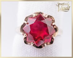 Vintage ~ Created Ruby Right Hand Ring ~ Yellow Gold ~ mm Round Fancy Cut 8 Pointed Star Lab Created Ruby ct) ~ by StratfordVault on Etsy Star Labs, Right Hand Rings, Beautiful Gift Boxes, Heart Ring, Gems, Fancy, Jewels, Stars, Yellow