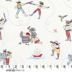 Michael Miller Fabrics Out to Sea A Pirates Life Play by Sarah Jane Studios Tissu Michael Miller, Michael Miller Fabric, Retro Fabric, Sea Pirates, Nautical Quilt, Out To Sea, Pirate Life, Kona Cotton, Pirates