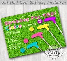 Girl Mini Golf Birthday Party Invite by SmartyPartyDesigns on Etsy