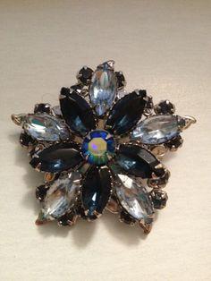 Pretty 60s blue rhinestone flower brooch by VintageSoulGeek, $6.50