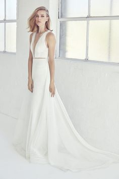 Modern wedding dress with plunging V neckline