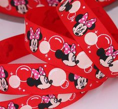 Red Minnie Mouse Bubble  Printed Grosgrain by Universalideas