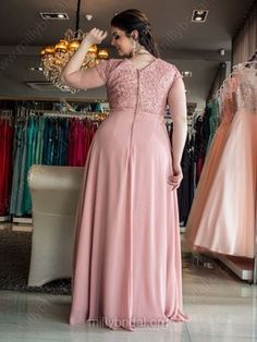 A-line Scoop Neck Chiffon Floor-length Appliques Lace prom dress #Milly020106023