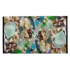 iPAD cases Blue Sea Glass Shells Agates SOLD custom personalized iPAD case coastal beach rock garden Holiday gifts.