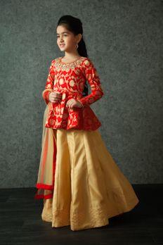 - Papillon jacket lehenga choli embellished with moti work Kids Indian Wear, Kids Ethnic Wear, Pakistani Dresses, Indian Dresses, Indian Outfits, Little Girl Dresses, Girls Dresses, Baby Dresses, Kids Blouse Designs