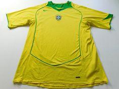 Nike Mens Yellow Soccer Jersey Brasil Size XL XLarge Referee Short Sleeve TShirt #NIKE #BRAZILNATIONALTEAM
