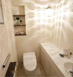 吊り下げの照明器具(ペンダント)がアクセントのおしゃれなトイレ。|タイル|インテリア|おしゃれ|ライト|かわいい|