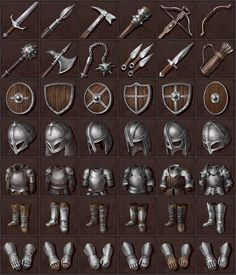 ArtStation - Weapon and armor icons, Nadezhda Iakhina Fantasy Map, Armors, Thought Provoking, Pixel Art, Game Art, Minecraft, Weapons, Origami, Icons
