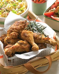 Rosemary Fried Chicken - Martha Stewart Recipes- This makes me want to 1. Finally use that brand new deep fryer we have in the basement. 2. Go on a good old-fashioned picnic. :)