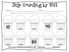 100th Day of School activity...Skip count by 10s and add sprinkles to the ice cream! $
