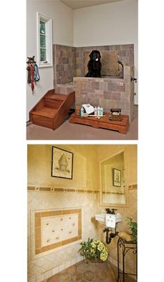 The picture on top has an interesting idea of adding stairs to elevate the dog/kid shower in the mudroom. Would be a lot easier than bending down to reach them.