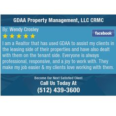 I am a Realtor that has used GDAA to assist my clients in the leasing side of  their...