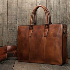 Handmade Vintage Genuine Leather Business Briefcase Men's Messenger Bag 12'' Laptop Bag NZ02