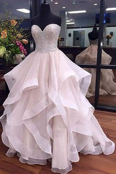 A-Line Sweetheart Floor-Length Ivory Organza Wedding Dress with Beading Ruffles, sparkle wedding dresses