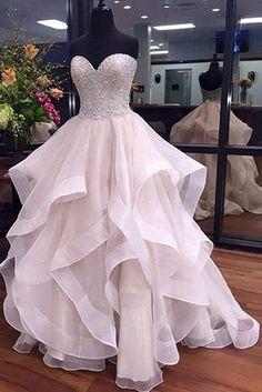 A-Line Sweetheart Floor-Length Ivory Organza Wedding Dress with Beading Ruffles, beaded wedding dresses