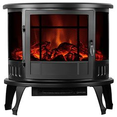 Uenjoy 1500W 23 Free Standing Electric Fireplace Heater Stove Realistic Flame Black