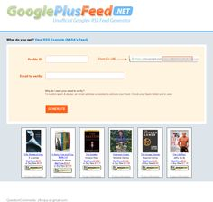 Google Plus Feed generator. Generate RSS feeds from your public comments and Google+ profile.