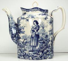 Classic Blue French Toile Teapot Joan of Arc