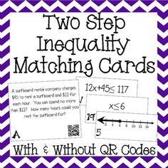 Great way for students to practice working with two step inequality word problems! Love the QR codes! My Grade Math, Grade Math, and Algebra students would love this! Algebra 1 Textbook, Seventh Grade Math, Solving Equations, Math About Me, Math Word Problems, Matching Cards, Teaching Math, Teaching Ideas, Math For Kids